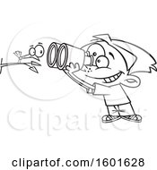 Clipart Of A Cartoon Lineart Boy Viewing A Bird Up Close With Binoculars Royalty Free Vector Illustration