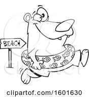Cartoon Outline Summer Bear Wearing An Inner Tube And Running To The Beach