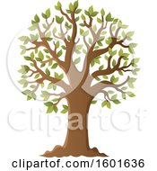 Clipart Of A Tree With Green Spring Leaves Royalty Free Vector Illustration