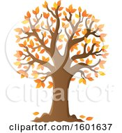 Clipart Of A Tree With Falling Autumn Leaves Royalty Free Vector Illustration