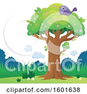 Clipart Of A Blossoming Spring Tree With A Bird Royalty Free Vector Illustration