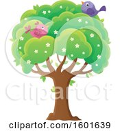 Clipart Of A Blossoming Spring Tree With Birds Royalty Free Vector Illustration by visekart
