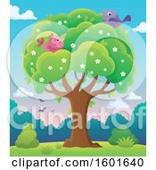 Clipart Of A Blossoming Spring Tree With Birds At Dawn Or Sunset Royalty Free Vector Illustration