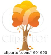 Clipart Of A Tree With An Orange Autumn Canopy Royalty Free Vector Illustration