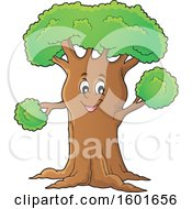 Clipart Of A Tree Character Mascot Royalty Free Vector Illustration
