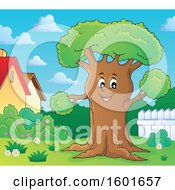 Clipart Of A Tree Character Mascot In A Yard Royalty Free Vector Illustration