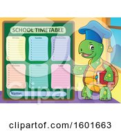 Cartoon Tortoise Turtle Professor Mascot Character With A School Timetable