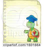 Cartoon Tortoise Turtle Professor Mascot Character Over Ruled Paper