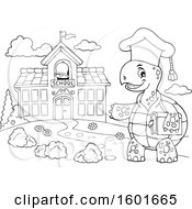 Cartoon Lineart Tortoise Turtle Professor Mascot Character Near A School