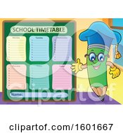 Green Pencil Professor Mascot Character Presenting A School Timetable
