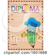 Green Pencil Professor Mascot Character Presenting On A Diploma