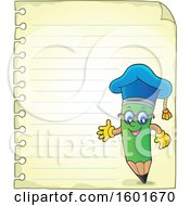 Green Pencil Professor Mascot Character Presenting On Ruled Paper