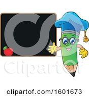 Clipart Of A Green Pencil Professor Mascot Character Presenting A Blackboard Royalty Free Vector Illustration