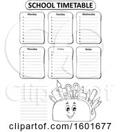 Lineart Pencil Pouch Character Full Of School Supplies On A Timetable