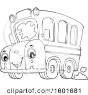 Lineart Cartoon Happy Yellow School Bus Mascot Character