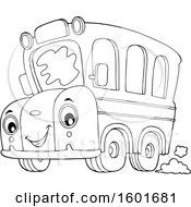 Poster, Art Print Of Lineart Cartoon Happy Yellow School Bus Mascot Character