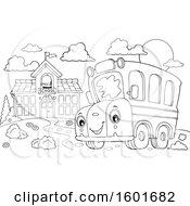Poster, Art Print Of Lineart Cartoon Happy Yellow School Bus Mascot Character Near A Building