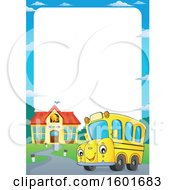 Poster, Art Print Of Border With A Cartoon Happy Yellow School Bus Mascot Character