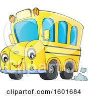 Clipart Of A Cartoon Happy Yellow School Bus Mascot Character Royalty Free Vector Illustration