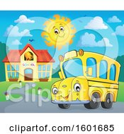 Poster, Art Print Of Cartoon Happy Yellow School Bus Mascot Character Near A Building On A Sunny Day