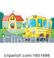 Cartoon Happy Yellow School Bus Mascot Character Near A Building