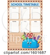 Pencil Pouch Character Full Of School Supplies On A Timetable
