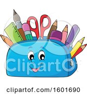 Clipart Of A Pencil Pouch Character Full Of School Supplies Royalty Free Vector Illustration