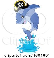 Clipart Of A Jumping Pirate Dolphin Royalty Free Vector Illustration by visekart