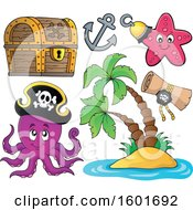 Pirate Animals Icons And A Tropical Island