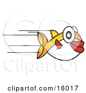 Fast Puffer Fish Speeding Past Clipart Illustration