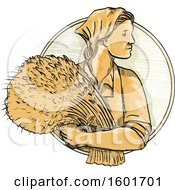 Clipart Of A Sketched Female Russian Wheat Farmer Holding Fresh Harvested Stalks In A Circle Royalty Free Vector Illustration