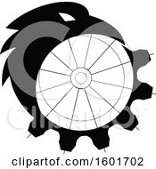 Clipart Of A Black And White Crow Or Raven Bird Morphing Into A Gear Royalty Free Vector Illustration by patrimonio