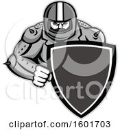 Clipart Of A Grayscale Tough Biker Wearing A Motorcycle Helmet And Holding A Shield Royalty Free Vector Illustration by patrimonio