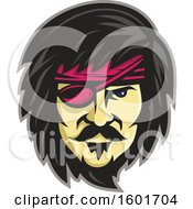Pirate Face With Black Hair A Beard And Mustache And A Pink Eye Patch