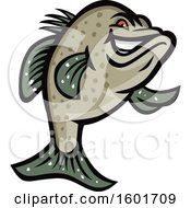 Tough Crappie Fish Mascot Standing On His Fin