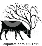 Black Silhouetted Buck Deer With Tree Like Antlers