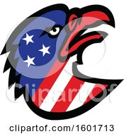 Poster, Art Print Of Tough Bald Eagle Mascot Head With American Stars And Stripes