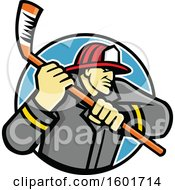 Clipart Of A Tough Fire Man Wielding An Ice Hockey Stick In A Circle Royalty Free Vector Illustration