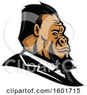 Clipart Of A Well Groomed Business Gorilla Mascot Head In Profile Royalty Free Vector Illustration