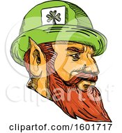 Clipart Of A Sketched Leprechaun Mascot Head Wearing A Hat Royalty Free Vector Illustration