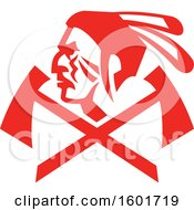 Clipart Of A Profiled Native American Warrior Over Crossed Tomahawks Royalty Free Vector Illustration