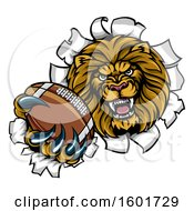 Tough Lion Sports Mascot Holding Out An American Football And Breaking Through A Wall