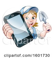 White Female Gardener Holding A Garden Trowel And Cell Phone Over A Sign