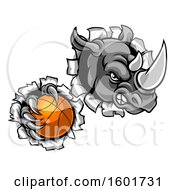 Tough Rhino Monster Mascot Holding A Basketball In One Clawed Paw And Breaking Through A Wall