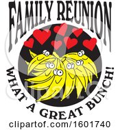 Clipart Of A Family Reunion What A Great Bunch Design With Bananas And Hearts Royalty Free Vector Illustration by Johnny Sajem
