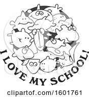 Clipart Of A Grayscale Group Of Fish With I Love My School Text Royalty Free Vector Illustration