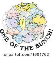 Clipart Of A Group Of Fish With One Of The Bunch Text Royalty Free Vector Illustration