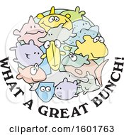 Clipart Of A Group Of Fish With What A Great Bunch Text Royalty Free Vector Illustration