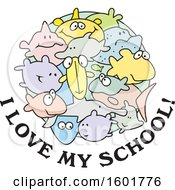 Clipart Of A Group Of Fish With I Love My School Text Royalty Free Vector Illustration