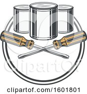 Clipart Of A Round Frame With Crossed Screwdrivers And Paint Cans Royalty Free Vector Illustration